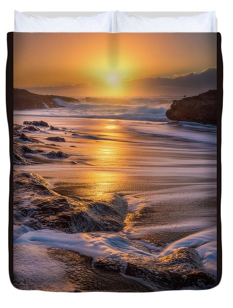 Duvet Cover featuring the photograph Yachats' Sun by Darren White