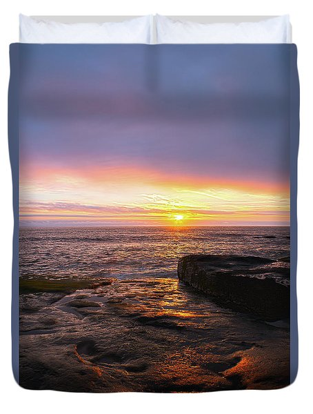 Yachats Sunset Duvet Cover