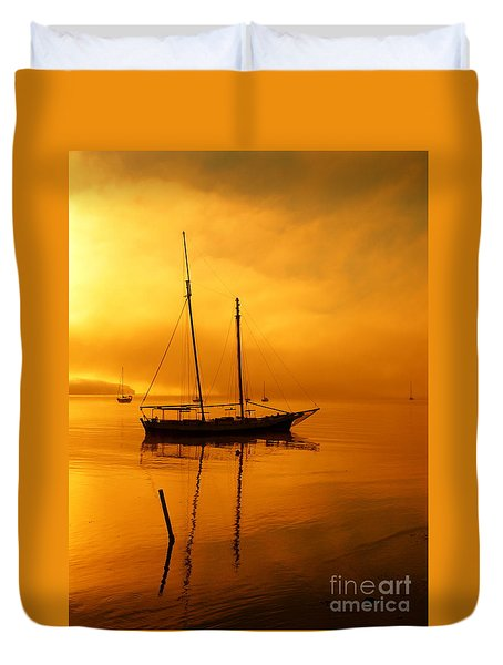 Yacht At Sunrise Duvet Cover