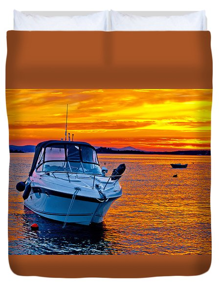 Yacht Boat On Golden Sunset Duvet Cover by Brch Photography