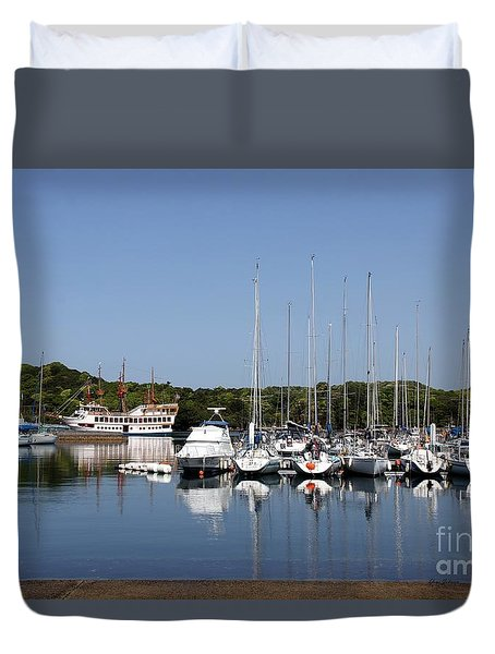 Duvet Cover featuring the photograph Yacht Harbor by Yumi Johnson