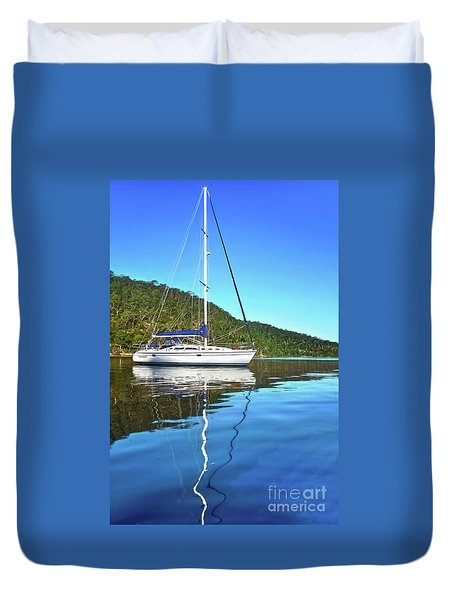 Duvet Cover featuring the photograph Yacht Reflecting By Kaye Menner by Kaye Menner