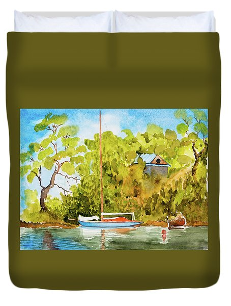 Yacht Weene' In Barnes Bay  Duvet Cover
