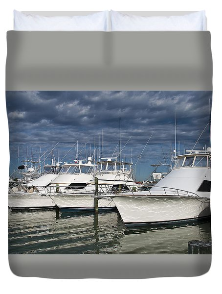 Yachts At The Dock Duvet Cover