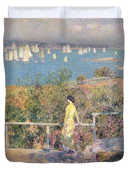 Yachts In Gloucester Harbor Duvet Cover by Childe Hassam