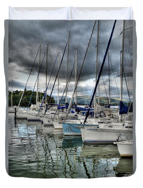 Yachts On Lake Windermere Duvet Cover