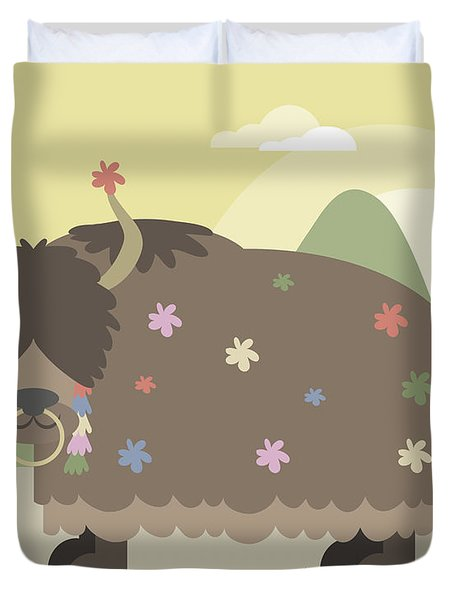 Yak In Mountains Duvet Cover