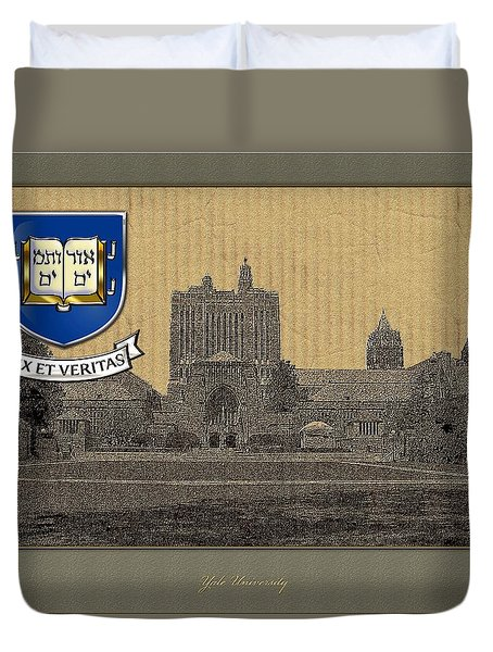 Yale University Building With Crest Duvet Cover by Serge Averbukh