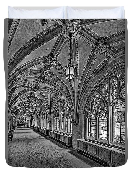 Duvet Cover featuring the photograph Yale University Cloister Hallway II Bw by Susan Candelario