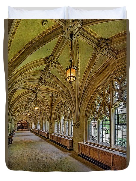 Duvet Cover featuring the photograph Yale University Cloister Hallway II  by Susan Candelario