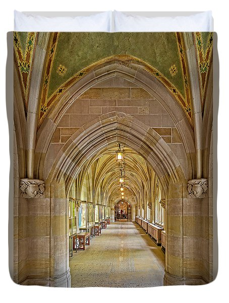 Duvet Cover featuring the photograph Yale University Cloister Hallway by Susan Candelario
