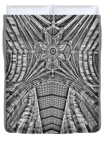 Duvet Cover featuring the photograph Yale University Sterling Library Bw by Susan Candelario