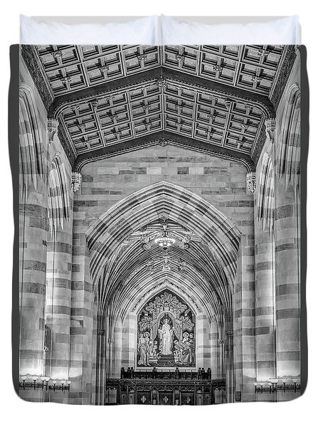 Duvet Cover featuring the photograph Yale University Sterling Memorial Library Bw  by Susan Candelario