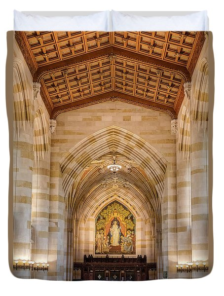 Duvet Cover featuring the photograph Yale University Sterling Memorial Library by Susan Candelario