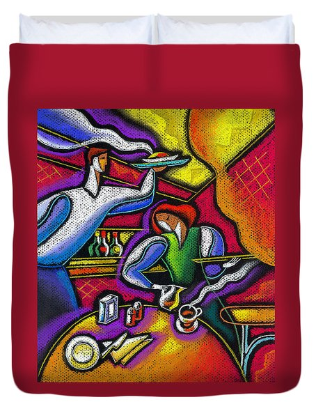 Duvet Cover featuring the painting  Yam Food And Drink by Leon Zernitsky