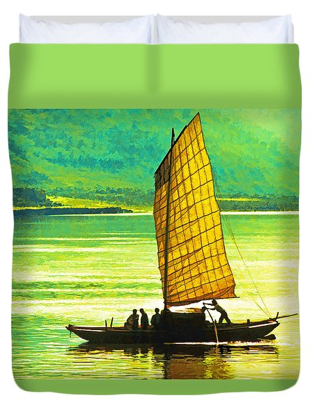 Duvet Cover featuring the photograph Yangtze Sampan by Dennis Cox WorldViews