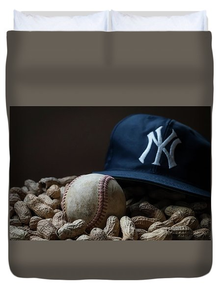 Yankee Cap Baseball And Peanuts Duvet Cover