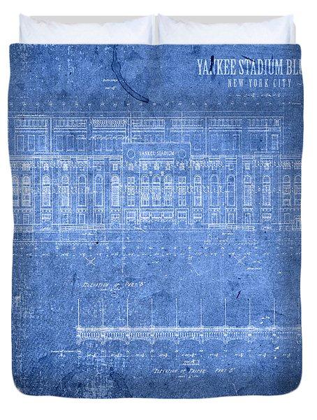 Yankee Stadium New York City Blueprints Duvet Cover by Design Turnpike