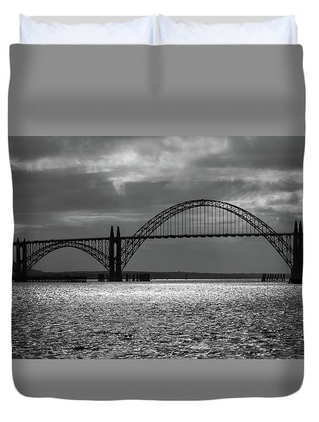 Yaquina Bay Bridge Black And White Duvet Cover by James Eddy