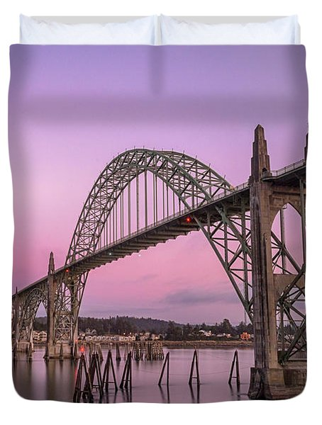 Yaquina Bay Bridge In Blue Light Duvet Cover