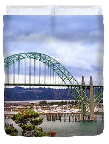 Yaquina Bay Bridge Panorama Duvet Cover
