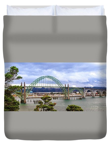 Yaquina Bay Bridge Panorama Duvet Cover