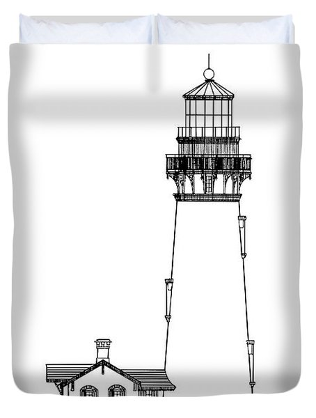 Yaquina Head Lighthouse - Oregon - Blueprint Drawing Duvet Cover