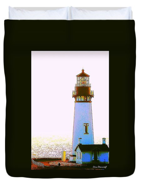 Yaquina Head Lighthouse Duvet Cover by Steve Warnstaff