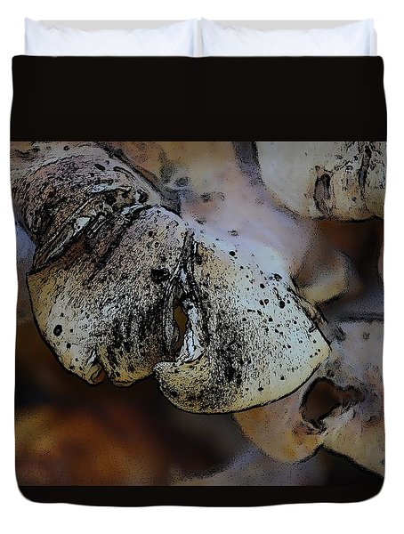 Duvet Cover featuring the photograph Yard Mushrooms by Richard Ricci
