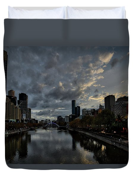 Duvet Cover featuring the photograph Yarra River Sunset, Melbourne by Ross Henton