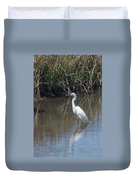 Yawkey Wildlife Refuge - Great White Egret II Duvet Cover by Suzanne Gaff