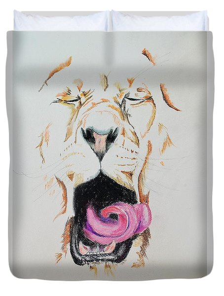 Yawning Lion  Duvet Cover