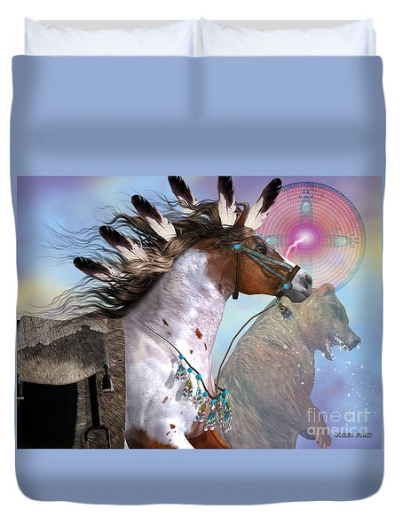 Year Of The Bear Horse Duvet Cover by Corey Ford