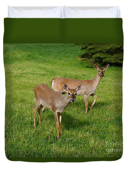 Duvet Cover featuring the photograph Yearling Twins by Sandra Updyke