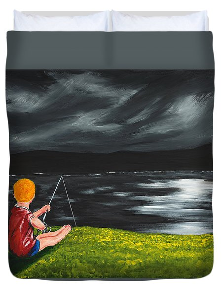 Duvet Cover featuring the painting Yel No Catch A Kelpie Wi That by Scott Wilmot