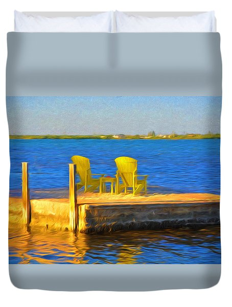 Yellow Adirondack Chairs On Dock In Florida Keys Duvet Cover