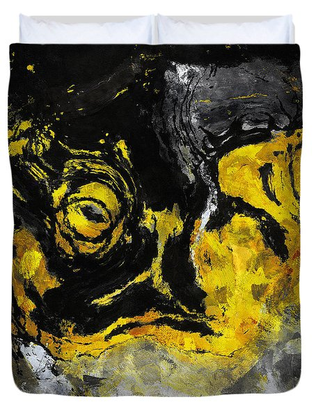 Duvet Cover featuring the painting Yellow And Black Abstract Art by Ayse Deniz