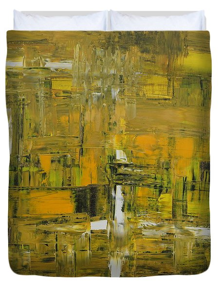 Yellow And Black Abstract Duvet Cover