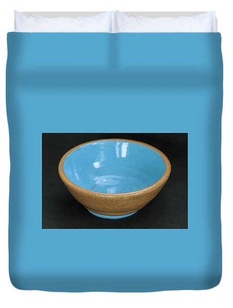 Yellow And Blue Ceramic Bowl Duvet Cover by Suzanne Gaff
