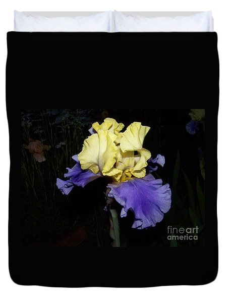Yellow And Blue Iris Duvet Cover