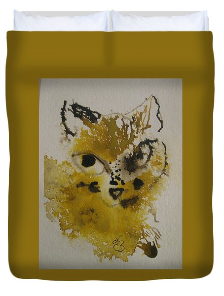 Duvet Cover featuring the drawing Yellow And Brown Cat by AJ Brown