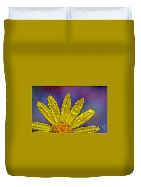 Duvet Cover featuring the photograph Yellow And Dew by Tom Claud