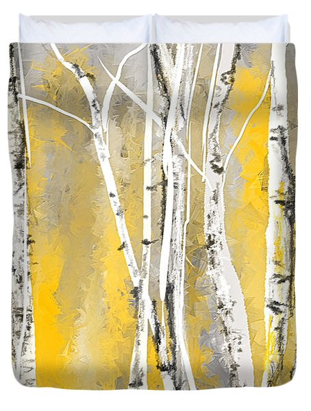 Yellow And Gray Birch Trees Duvet Cover by Lourry Legarde