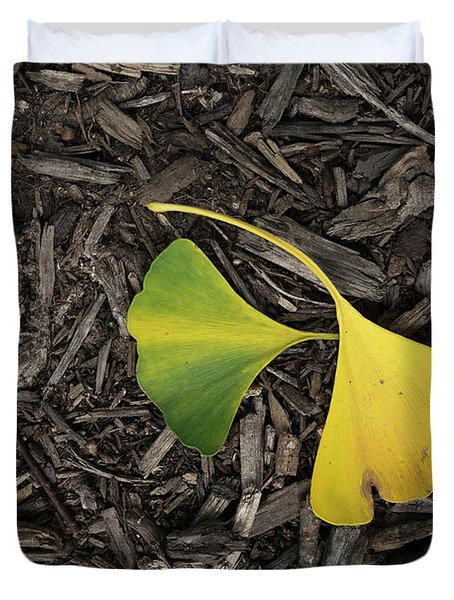 Yellow And Green Gingko Duvet Cover