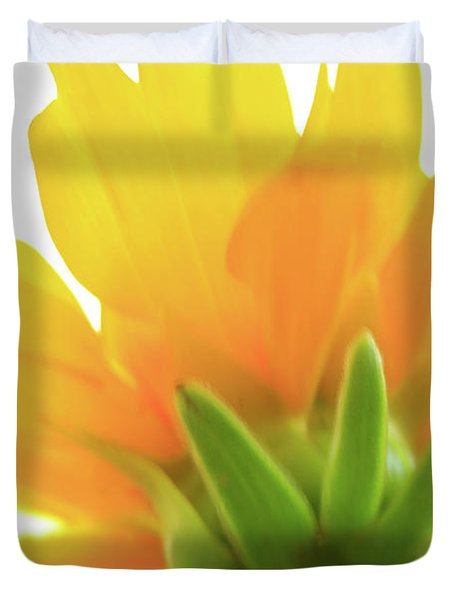 Duvet Cover featuring the photograph Yellow And Green by Roger Mullenhour