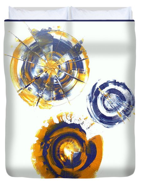 Yellow And Grey Spherical Abstract  Duvet Cover