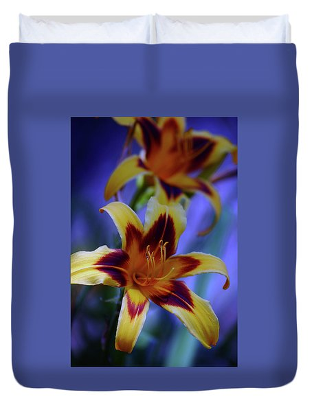 Yellow And Orange And Garnet Daylilies 1270 H_2 Duvet Cover