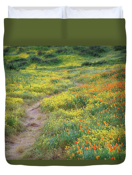 Yellow And Orange Wildflowers Along Trail Near Diamond Lake Duvet Cover by Jetson Nguyen