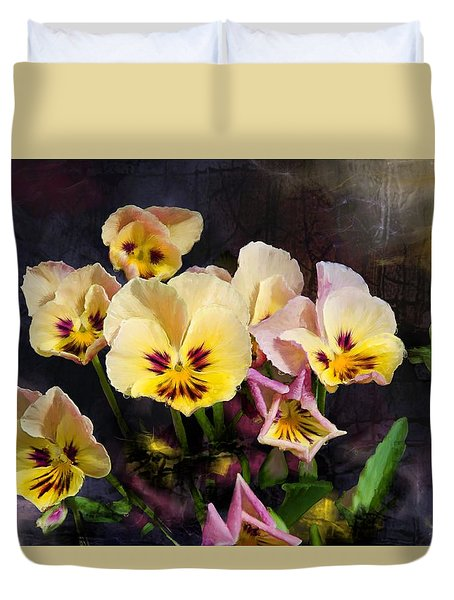 Yellow And Pink Pansies Duvet Cover