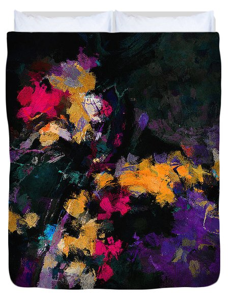 Duvet Cover featuring the painting Yellow And Purple Abstract / Modern Painting by Ayse Deniz